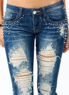 (1) spiked-destroyed-skinny-jeans DARKBLUE - GoJane.com on Wanelo