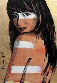 "DAVID BROMLEY Nude ""Carmen"" Polymer & Gold Leaf on Canvas 90cm x 60cm"