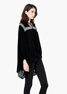 Blusa bordada cordão | MANGO