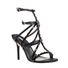 SATIRE – BEADED HIGH HEEL SATIN SANDALS by Leon Max | Max Studio