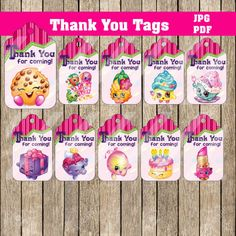 "SHOPKINS THANK YOU TAGS  DIGITAL FILE - PRINTABLE - DIY No physical item will be shipped  Thank you tags 20 Tags To be printed on 8.5"" x 11""  Small Tags PDF files  Your files will be email to your email account associated with artfire/paypal within 24 hours after puchase. I do my best to email the files within 2 hours excluding Sunday and night time purchases.   *** COPYRIGHT NOTICE ** Please note that you are paying for a creative service and the time spent designing. This ite..."