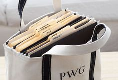 """Organization on the Go   """"This is what I call my traveling office,"""" says Wolfman. """"Before starting a project, I have an L.L. Bean bag made for the 8½ x 11'' files I'll need. These totes are inexpensive and indestructible."""""""