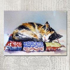Calico Kitten on Pillow  ACEO fine art print by christydekoning, $5.00