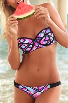 Checked Colorful Push Up Bikini Set