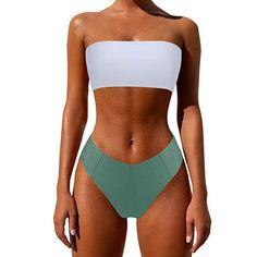 ea6db090d4c0d MOSHENGQI Women High Waist Marble Print 2 Piece Strapless Bandeau Bathing  Suit Bikini Set(M(US Size 4-6),1770): Clothing