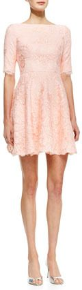 Monique Lhuillier Elbow-Sleeve Lace Cocktail Dress on shopstyle.com