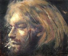 Tony Scherman   The Junkies Series - Portrait of Kurt Cobain   encaustic on canvas /sm