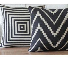 Pillows for sofa Geometric linen black pillow case 18x18 black white pillow cover decorative linen pillow black white