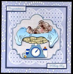 baby boy weigh in on scales card and decoupage in Card Gallery