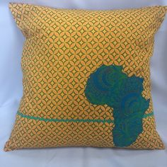 f72a83150ed Yellow   Blue Africa ShweShwe Cushion Cover by African Swell Creations Three  Cats