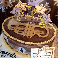Musical cake. Trumpet cake. #trumpetcake #musicalcake #OneSweetTreat