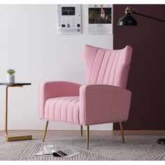 Pink Accent Chair, High Back Accent Chairs, Small Accent Chairs, Home Living Room, Living Room Furniture, Living Room Decor, Pink Master Bedroom, Velvet Wingback Chair, Paris Home Decor