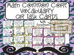 Math Vocabulary QR Task Cards: Test Prep MUSTACHE THEMED $