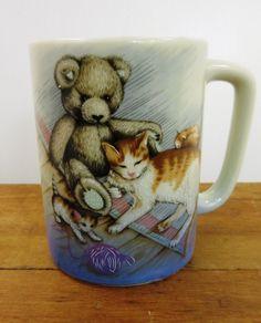 Vintage Mother Cat & Kittens Teddy Bear Coffee Tea Mug Cup Otagiri Made in Japan   eBay