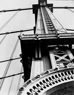 Photo by Berenice Abbott, ca 1936, Manhattan Bridge from Bowery and Canal Street.