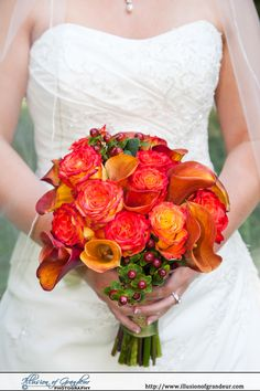 Orange and Red bridal bouquet - by Illusion of Grandeur Photography http://www.illusionofgrandeur.com