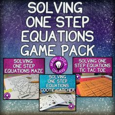 Easy to implement game and activity ideas for one step equations practice & review.
