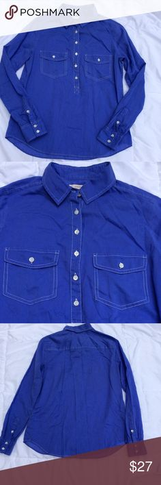 J. Crew half-button blouse Beautiful bright blue blouse. It is a half button blouse that is lightweight, breathable and can easily transition between work and play. J. Crew Tops Button Down Shirts