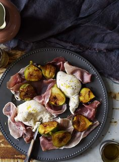 Cut the figs in half and press the cut sides firmly into the caster sugar. Heat a heavy-based sauté pan until hot and cook the figs sugar side down until caramelized. This will only take a minute or two. Place ...