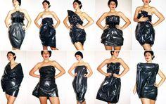 kostüm frauen schnell idee müllsack kleid selber machen