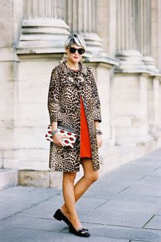 Try wearing a classic leopard coat with a bright shift underneath with flat loafers // What should I wear to a bridal shower?