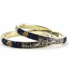Saran Bangles #blue #enamel #royal #bangle #indianstyle