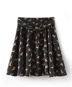 Sweet Style Cat Print Skirt With Elastic Waist