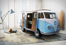 Ein Kinderbett im VW Bulli Bequemes Bett Auf Wunsch mit TV oder auch mit Mini-Bar
