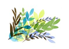 Foliage art Print leaves watercolor painting by TheJoyofColor