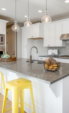 Chase away winter gloom with a pop of yellow in your kitchen! Fun, colorful home design ideas from Candlelight Homes, we build beautiful.