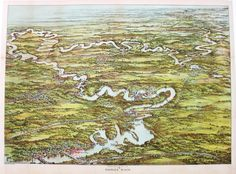 Canoeing map of the Charles River in Mass.  Graphically very interesting and decorative high quality reproduction of an early 1900's map. $95.00