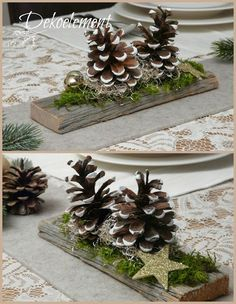 deko weihnachten tisch DIY centerpieces easy and cheap Country Christmas, Christmas Home, Christmas Wreaths, Christmas Ornaments, Pine Cone Crafts, Christmas Projects, Holiday Crafts, Christmas Table Decorations, Decoration Table