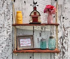 Hanging Shelf Red Oak Stained Double Hanging by CatronsWoodWorking, $40.00