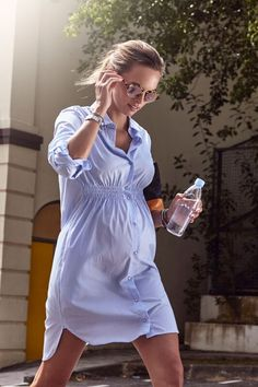 MAMA MUSE Elliot Pinstripe Maternity Shirt Dress www.mama-muse.com