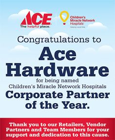 Shop Ace Hardware for grills, hardware, home improvement, lawn and garden, and tools. Children's Miracle Network Hospitals, Ace Hardware, Raise Funds, Fundraising, Retail, Organization, Store, Getting Organized, Organisation