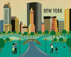 New York City Central Park Daytime Scenery - Travel Destination Wall Art Poster Print, via Etsy.