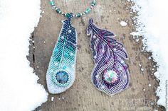 "Brooches handmade.  Fair of Masters - handmade.  Buy Beaded brooch-transformer ""Feather"".  Handmade.  Lilac feathers"