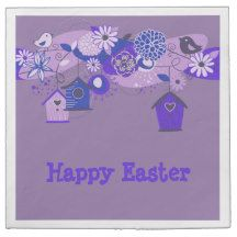Purple Birds and Bird Houses Easter Napkins