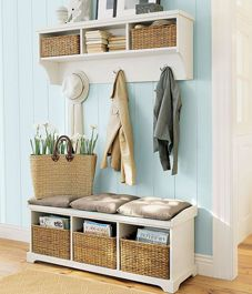 For our entryway. try to put it to use 55 Mudroom And Hallway Storage Ideas Halls Pequenos, Decoration Entree, Home Decoration, Entryway Wall, Apartment Entryway, Entryway Furniture, Narrow Entryway, Furniture Ideas, Narrow Bench
