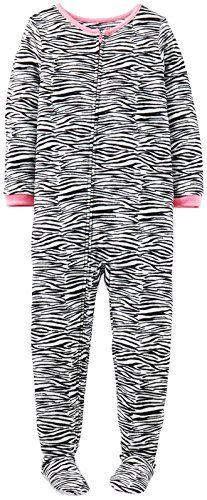 e79b28ee14 Little Girls  Print Fleece Footie (Toddler Kid) - Zebra Cheap Kids Clothes