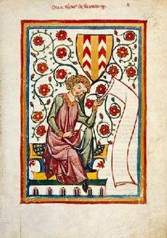 Buchmalerei - Graf Rudolf II. von Neuenburg mit Schriftband