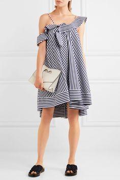 MSGM | One-shoulder ruffled striped cotton mini dress | NET-A-PORTER.COM
