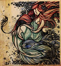 The Little Mermaid  This will make a great stained glass window for the little girls room!