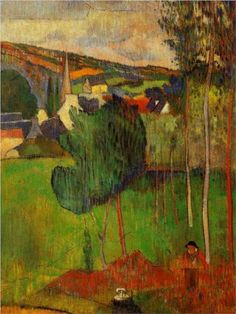 View of Pont-Aven from Lezaven - Paul Gauguin