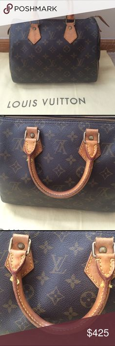 Louis Vuitton Speedy 25 Monogram I am open to offers! Monogram print. Adorable. Perfect size. No lock/key, box, dust bag, etc. Zipper pull in very good condition. Some tanning and scratches on leather. Some stitch is coming out on part of the handle, but poses no problem. Louis Vuitton Bags Satchels