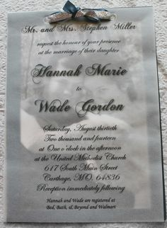 Wedding Invitation with translucent overlay. Background is black and white photo with color border. 5 x 7 inches.  https://www.facebook.com/hannahgordondesigns