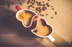 Free Image: Lovely and Romantic Heart Coffee Cups | Download more on picjumbo.com!