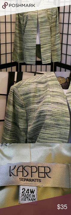 *NWOT* Kasper Green Black Stripe Blazer Never Worn, Accessories not included, 2 Front Pockets Thread Still Attached, Fully Lined, Shoulder Pads, Thanks for sharing my closet, I will show Posh love by doing the same. Kasper Jackets & Coats Blazers