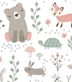 Decorate baby's room with nursery fabric prints for bedding, clothing or decor. Our nursery fabric is available in a variety of cute patterns & styles to match your theme. Nursery Fabric, Nursery Prints, Nursery Art, Minky Baby Blanket, Baby Boy Blankets, Baby Swaddle, Woodland Animal Nursery, Woodland Animals, Baby Illustration
