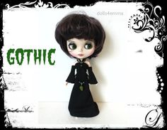 Blythe Doll Clothes  GOTHIC Black Gown  Jewelry  by DOLLS4EMMA